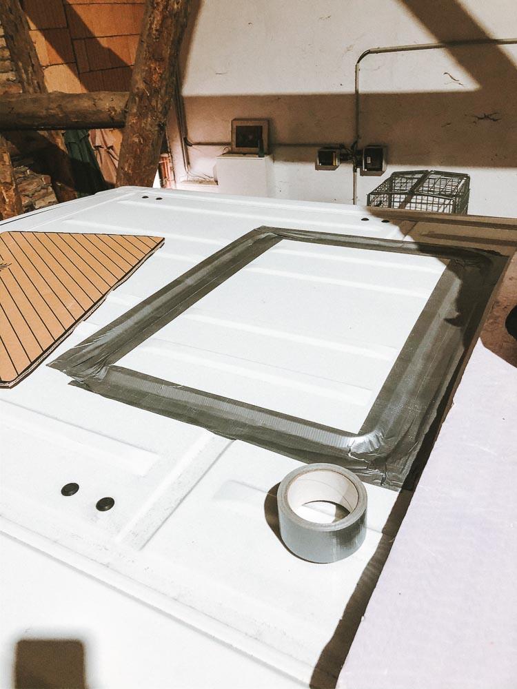 Vorbereitung Ausschnitt Dachfenster
