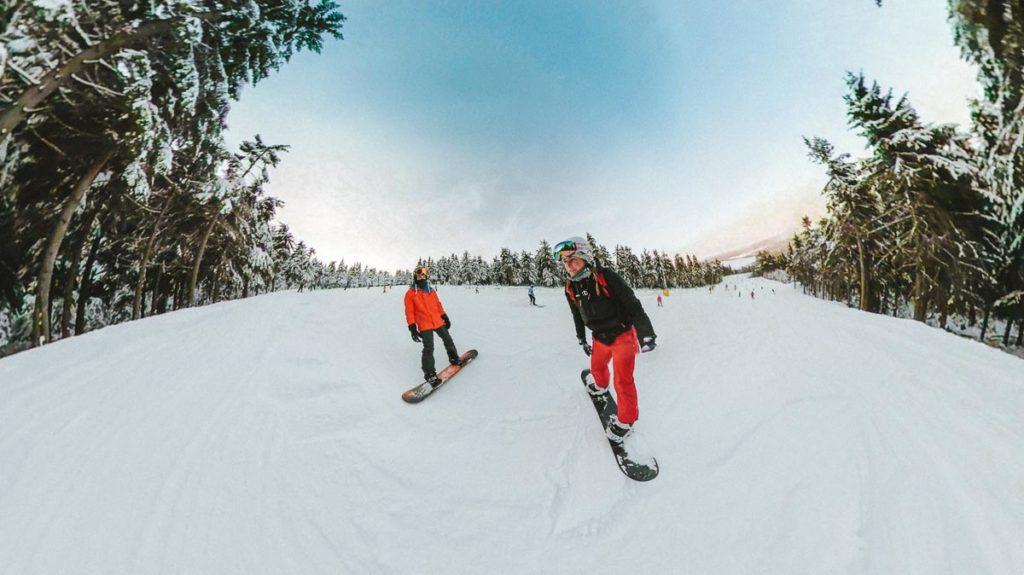 Snowboarden auf dem Keilberg (Klinovec, CZ)